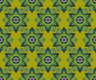 Όμορφο διανυσματικό άνευ ραφής σχέδιο τυπωμένων υλών Λουλούδια Mandala με το κίτρινο υπόβαθρο Στοκ εικόνες με δικαίωμα ελεύθερης χρήσης