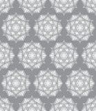 Όμορφο διανυσματικό άνευ ραφής σχέδιο τυπωμένων υλών Λουλούδια Mandala με το γκρίζο υπόβαθρο Στοκ Εικόνες