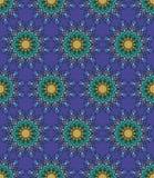 Όμορφο διανυσματικό άνευ ραφής σχέδιο τυπωμένων υλών Λουλούδια Mandala με το μπλε υπόβαθρο Στοκ Εικόνες