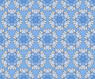 Όμορφο διανυσματικό άνευ ραφής σχέδιο τυπωμένων υλών Λουλούδια Mandala που τίθενται με το μπλε υπόβαθρο Στοκ Φωτογραφία
