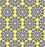 Όμορφο διανυσματικό άνευ ραφής σχέδιο τυπωμένων υλών Λουλούδια Mandala που τίθενται με το κίτρινο υπόβαθρο Στοκ Φωτογραφία