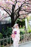 Όμορφο ιαπωνικό κορίτσι που φορά το ζωηρόχρωμο κιμονό στοκ φωτογραφίες