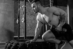 Όμορφο ισχυρό bodybuilder που αναπτύσσει τους δικέφαλους μυς του Στοκ Εικόνες