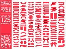 Όμορφο καθορισμένο διανυσματικό σχέδιο συλλογής κορδελλών, ετικεττών και τόξων Στοκ φωτογραφία με δικαίωμα ελεύθερης χρήσης