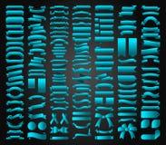 Όμορφο καθορισμένο διανυσματικό σχέδιο συλλογής κορδελλών, ετικεττών και τόξων Στοκ Εικόνα