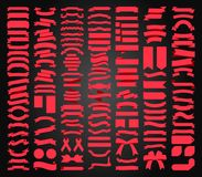 Όμορφο καθορισμένο διανυσματικό σχέδιο συλλογής κορδελλών, ετικεττών και τόξων Στοκ Εικόνες