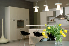 Όμορφο και σύγχρονο εσωτερικό σχέδιο κουζινών. Στοκ εικόνα με δικαίωμα ελεύθερης χρήσης