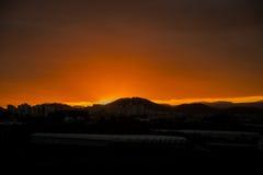 Όμορφο καμμένος τοπίο ηλιοβασιλέματος πέρα από το λιβάδι και τον πορτοκαλή ουρανό επάνω από το Καταπληκτική θερινή ανατολή ως υπό Στοκ Φωτογραφίες