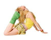 Όμορφο κατάλληλο stripper που ασκεί στο λευκό στοκ εικόνες με δικαίωμα ελεύθερης χρήσης