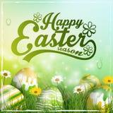 Όμορφο κιτρινοπράσινο υπόβαθρο Πάσχας με τα λουλούδια και τα ζωηρόχρωμα αυγά στη χλόη διανυσματική απεικόνιση