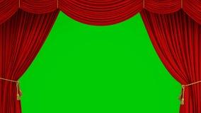 Όμορφο κλασικό θεατρικό κόκκινο αφηρημένο άνοιγμα κουρτινών αυξανόμενος και κλείνοντας με την πράσινη οθόνη τρισδιάστατη ζωτικότη απεικόνιση αποθεμάτων