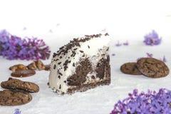Όμορφο κομμάτι του κέικ, των μπισκότων και της καραμέλας με τα καρύδια Στοκ Φωτογραφία