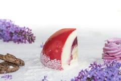 Όμορφο κομμάτι του κέικ, marshmallow, των μπισκότων και της καραμέλας με τα καρύδια Στοκ Εικόνα
