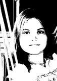 Όμορφο κορίτσι αφισών στο ύφος λαϊκός-τέχνης Στοκ εικόνες με δικαίωμα ελεύθερης χρήσης