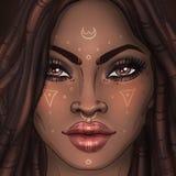 Όμορφο κορίτσι αφροαμερικάνων Απεικόνιση ράστερ της μαύρης γυναίκας Στοκ εικόνα με δικαίωμα ελεύθερης χρήσης