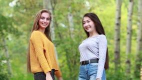 Όμορφο κορίτσι δύο με το μακρυμάλλες βελούδο στη φύση απόθεμα βίντεο
