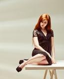 όμορφο κορίτσι κοκκινομάλλες Στοκ Φωτογραφίες