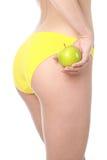 όμορφο κορίτσι μήλων πράσιν&o στοκ εικόνα με δικαίωμα ελεύθερης χρήσης