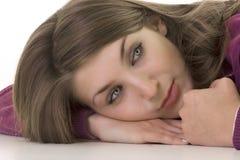 όμορφο κορίτσι ματιών στοχαστικό Στοκ φωτογραφίες με δικαίωμα ελεύθερης χρήσης