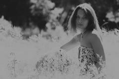 Όμορφο κορίτσι μεταξύ των τομέων λουλουδιών στοκ εικόνες