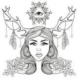 Όμορφο κορίτσι με διακοσμημένα τα κέρατα στοιχεία boho Διανυσματική γυναίκα διανυσματική απεικόνιση