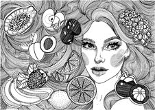 όμορφο κορίτσι με μακρυμάλλη και τα φρούτα Στοκ εικόνα με δικαίωμα ελεύθερης χρήσης
