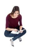 Όμορφο κορίτσι με μια ταμπλέτα Στοκ φωτογραφία με δικαίωμα ελεύθερης χρήσης