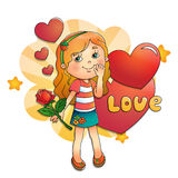 Όμορφο κορίτσι με ροδαλό υπό εξέταση με τις καρδιές στο λευκό Ελεύθερη απεικόνιση δικαιώματος