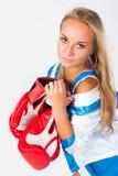 Όμορφο κορίτσι με τα εγκιβωτίζοντας γάντια στοκ φωτογραφία με δικαίωμα ελεύθερης χρήσης