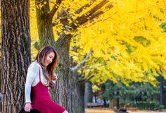 Όμορφο κορίτσι με τα κίτρινα φύλλα στο νησί Nami Στοκ φωτογραφίες με δικαίωμα ελεύθερης χρήσης
