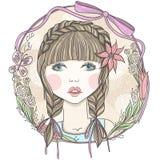 Όμορφο κορίτσι με τα λουλούδια διανυσματική απεικόνιση