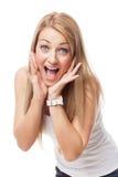 Όμορφο κορίτσι με την έκφραση της έκπληξης στοκ εικόνες