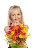 Όμορφο κορίτσι με την ανθοδέσμη Στοκ Εικόνες