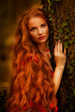 Όμορφο κορίτσι με την κόκκινη τρίχα στο πάρκο φθινοπώρου Στοκ φωτογραφία με δικαίωμα ελεύθερης χρήσης