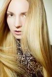 Όμορφο κορίτσι με τη χρυσή τρίχα Στοκ εικόνες με δικαίωμα ελεύθερης χρήσης