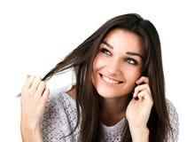Όμορφο κορίτσι με το κινητό τηλέφωνο Στοκ Φωτογραφία