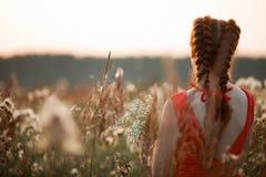 Όμορφο κορίτσι με το μακρύ κόκκινο τρίχωμα Στοκ Φωτογραφία
