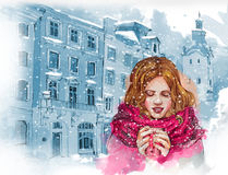 Όμορφο κορίτσι με το φλυτζάνι του καυτού καφέ ή του τσαγιού Υπόβαθρο Oldcity η διακοσμητική εικόνα απεικόνισης πετάγματος ραμφών  διανυσματική απεικόνιση