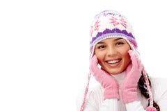 όμορφο κορίτσι μόδας ανασκόπησης που απομονώνεται άσπρος χειμώνας στοκ φωτογραφία