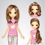 Όμορφο κορίτσι μόδας και συλλογή Hairstyle ελεύθερη απεικόνιση δικαιώματος