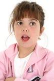 όμορφο κορίτσι πέντε που φαίνεται παλαιό έκπληκτο έτος στοκ εικόνες