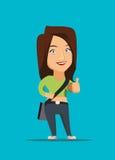 Όμορφο κορίτσι που παρουσιάζει αντίχειρα επάνω στην απεικόνιση διανυσματική απεικόνιση