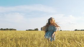 Όμορφο κορίτσι που τρέχει στον ηλιοφώτιστο τομέα σίτου Σε αργή κίνηση 120 fps Φλόγα φακών ήλιων μαύρη ελευθερία έννοιας που απομο απόθεμα βίντεο