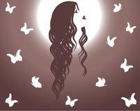 όμορφο κορίτσι που φαίνεται ουρανός Διανυσματική απεικόνιση