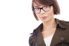 Όμορφο κορίτσι που φορά τα γυαλιά και το πουκάμισο στοκ εικόνα με δικαίωμα ελεύθερης χρήσης