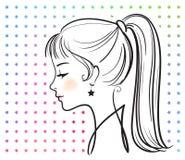 όμορφο κορίτσι προσώπου διανυσματική απεικόνιση
