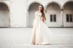 Όμορφο κορίτσι, πρότυπο με τη μακρυμάλλη τοποθέτηση στο παλαιό κάστρο κοντά στις στήλες Κρακοβία Vavel Στοκ φωτογραφία με δικαίωμα ελεύθερης χρήσης
