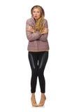 Όμορφο κορίτσι σακάκι που απομονώνεται στο χειμερινό στο λευκό Στοκ Φωτογραφία