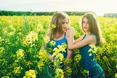 όμορφο κορίτσι 2 σε έναν τομέα των κίτρινων λουλουδιών Mom με κόρη ή δύο αδελφές που αγκαλιάζει στα πλαίσια ενός τομέα Στοκ Εικόνες