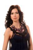 Όμορφο κορίτσι σε ένα μαύρο φόρεμα Στοκ Εικόνες